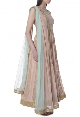 Nude Zardozi and Sequin Panel Embroidered Anarkali with Shaded Bordered Dupatta