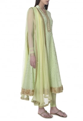 Lime Green Anarkali with Lemon Dupatta Hand Embroidered with Mukaish Work