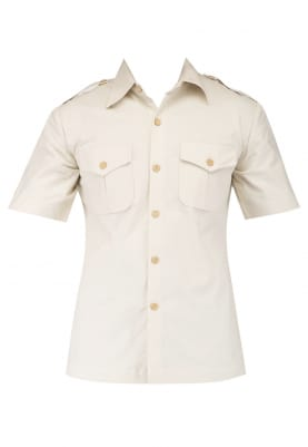 Beige Safari Style Shirt with Side Vent Paired with Brown Piping Detailing Trouser