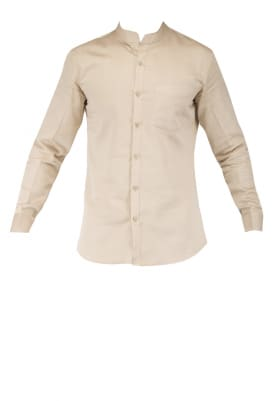 Beige Shirt with Orange Brown Shoe Style Patch On Trouser