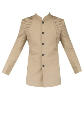 Beige Pleat Detailing At Front Bandhgala with Knee Patch And Pure Leather At Ankle Patch Breeches