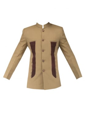 Khaki Leather Patch with Loop Bandhgala with Pin Tuck Brown Breeches