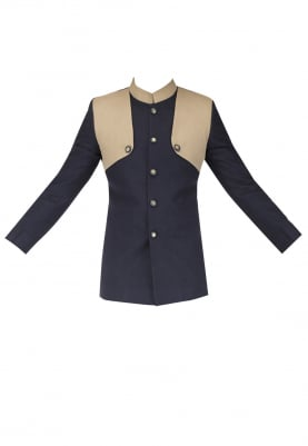 Navy Blue Bandhgala with Beige Detailing with Handwork Knee Patch Breeches