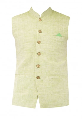 Green Chinese Collar Cotton Khadi Jacket with Contrast Button