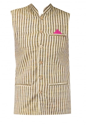 Beige Chinese Collar Cotton Khadi Jacket with Contrast Button