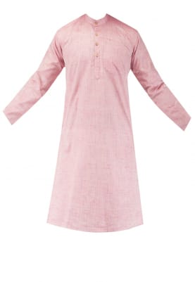 Pink Chinese Collar Cotton Khadi Kurta