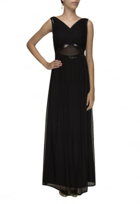 Black Sheer Peek-A-Boo Waist Gown