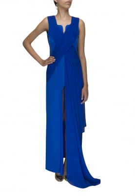Blue Pleated High Slit Center Front Gown