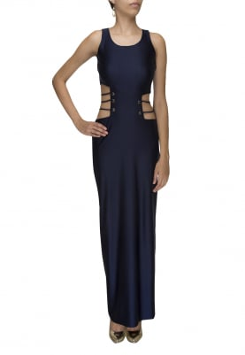 Blue Waist Cut Gown