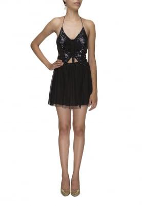 Black Halter Neck Embroidered Short Dress