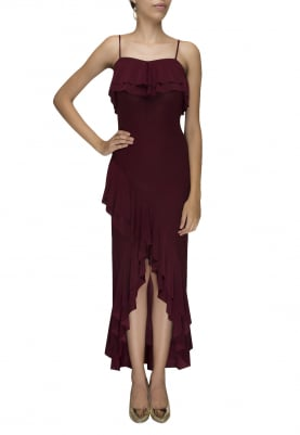 Brown High-Low Tube Ruffle Gown