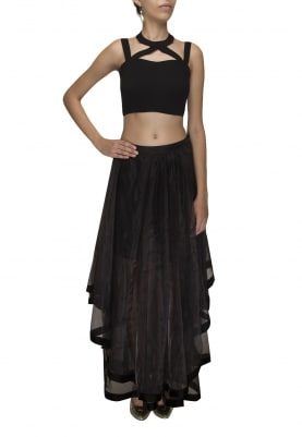 Charcoal Black Chocker Crop Top with Double Layer High-Low Skirt