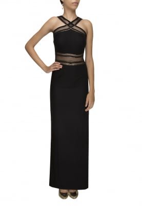 Black Halter Strap Neck Gown with High Rise Slit