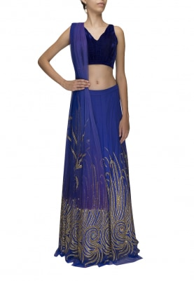 Blue Embroidered Lehenga and Choli Paired with Transparent Net Dupatta