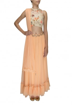 Peach Lehenga and Dupatta with Printed Blouse