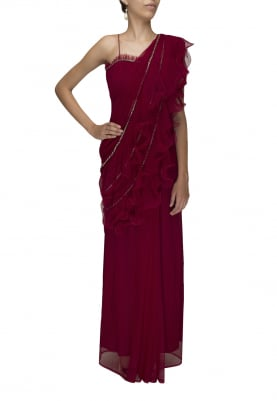 Red Ruffle Saree Gown