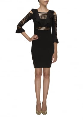 Black Short Dress with Ruffles and Stripes