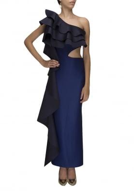 Blue Circular Ruffles Overlap Gown