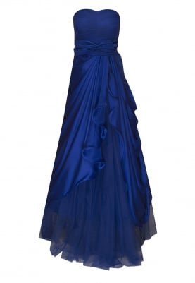 Blue Tube Gown with Asymmetric Flowy Flare