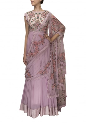 Lilac Heavy Embroidered Anarkali with Drape Floral Dupatta