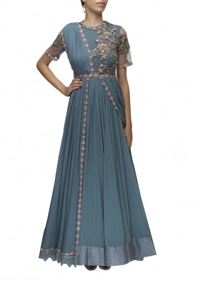 Teal Hand Embroidered Anarkali with Lace Border Dupatta