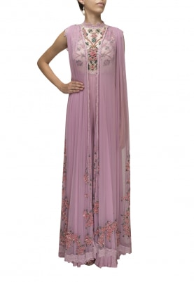 Pink Hand Embroidered Jumpsuit with Long Flying Panels