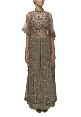 Olive Hand Embroidered Anarkali and Drape Dupatta