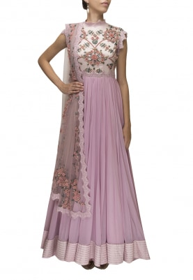 Lilac 3D Floral Embroidered Anarkali and Dupatta