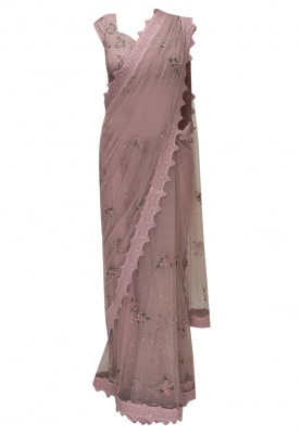 Pink Hand Embroidered Transparent Drape Saree with Blouse