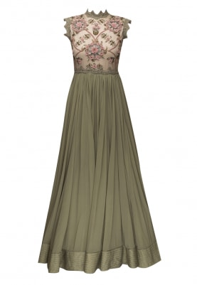 Olive 3D Floral Embroidered Anarkali and Dupatta