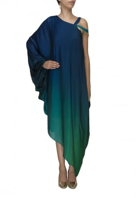 Peacock Blue To Green Ombre Dyed One Shoulder Asymmetric Dress