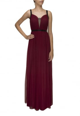 Maroon Pleated Fit and Flare Gown