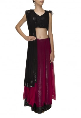 Black and Hot Pink Sequin Embellished Double Layer Lehenga, Choli and Dupatta