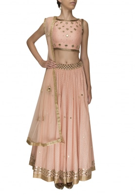 Peach Mirror Work Lehenga, Choli and Net Dupatta