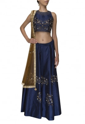 Blue Floral Thread Work Embroidered Lehenga and Choli Paired with Copper Transparent Dupatta