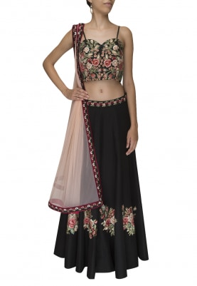 Black with Floral Mutil Color Thread Work Embroidered Lehenga and Choli with Pink Net Embroidered Border Dupatta