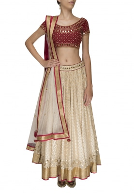 Maroon Mirror Work Choli with White Embellished Lehenga and Dupatta