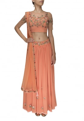 Peach Intricate Thread Embroidered Lehenga, Choli and Dupatta