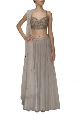 Grey Embroidered Choli and Dupatta with Net Layered Lehenga
