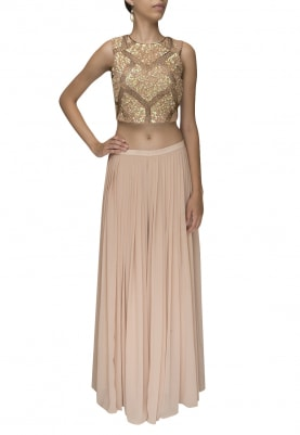 Peach Sequin Embroidered Crop Top with Palazzo Pants