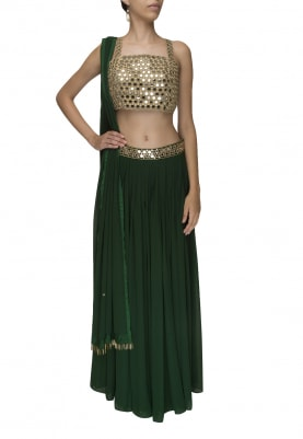 Bottle Green Big Sequin Embellished Crop Top and Lehenga with Dupatta