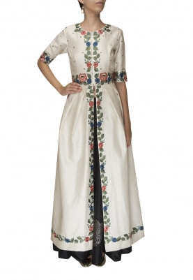 White Floral Embroidered Tunic with Black Block Printed Skirt