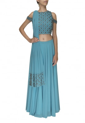 Blue Embellished Cold Shoulder Choli with Plain Panel Lehenga and Embellished Border Dupatta