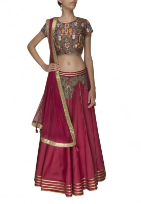 Maroon Embellished Choli with Lehenga and Transparent Dupatta