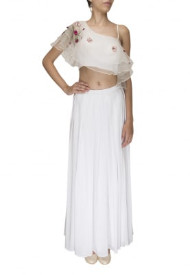 White Circular Flare Layered Floral Embroidered Crop Top and Skirt
