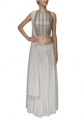 Grey Embellished Choli with Gathered Lehenga and Dupatta
