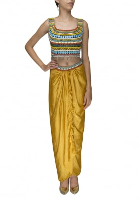 Multi Color Embellished Crop Top with Mustard Yellow Dhoti Pants