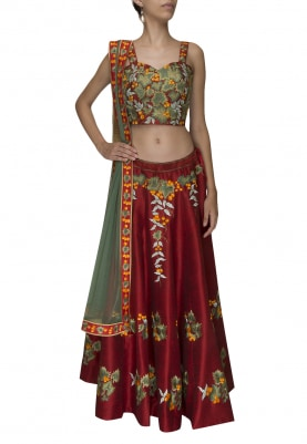 Maroon Embellished Choli and Lehenga with Contrast Edging Dupatta