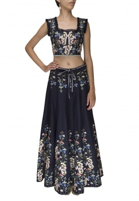 Dark Blue Embellished Lehenga and Choli
