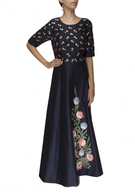 Navy Blue Embroidered Fit and Flare Gown